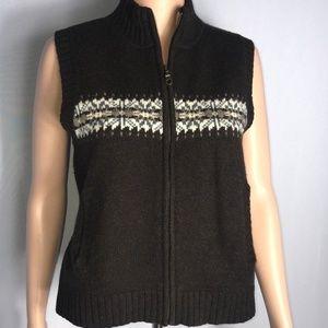Woolrich 100% Lambs Wool Vest Brown Size Medium